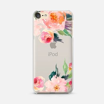 iPod Touch 6 Case Watercolor Floral Detail Pink Transparent
