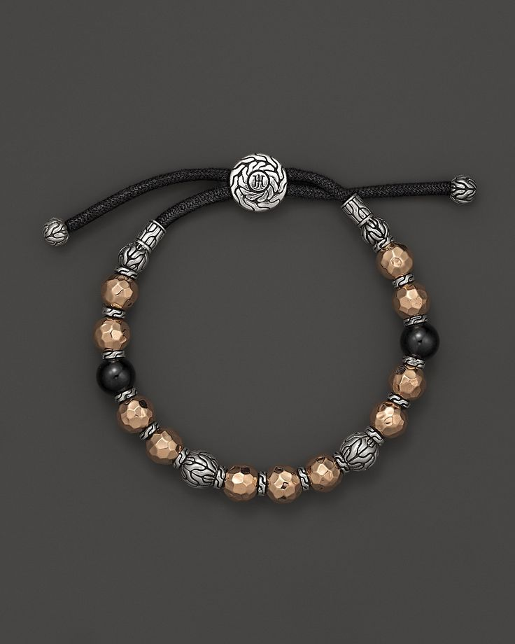 John Hardy Men's Palu Silver Batu and Bronze Bead Bracelet with Black Tourmaline | Bloomingdale's
