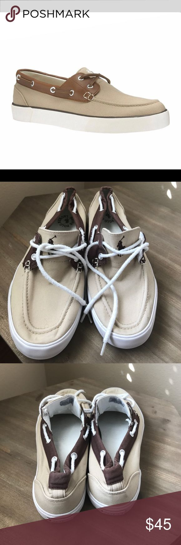 Men Polo Canvas Grab these nice Ralph Lauren Polo canvas for men before they are gone. View pictures closely. Gently worn. Used in good condition. Name Brand, Size8 1/2 Polo by Ralph Lauren Shoes Boat Shoes