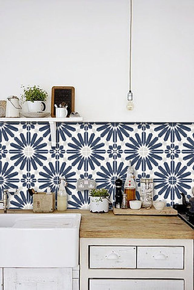 13 Perfect Ideas For Blue Kitchen Backsplashes Vinyl Backsplash