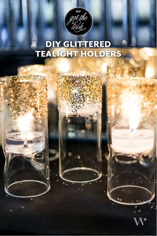 diy glittered tealight holders Adhesive spray and glitter