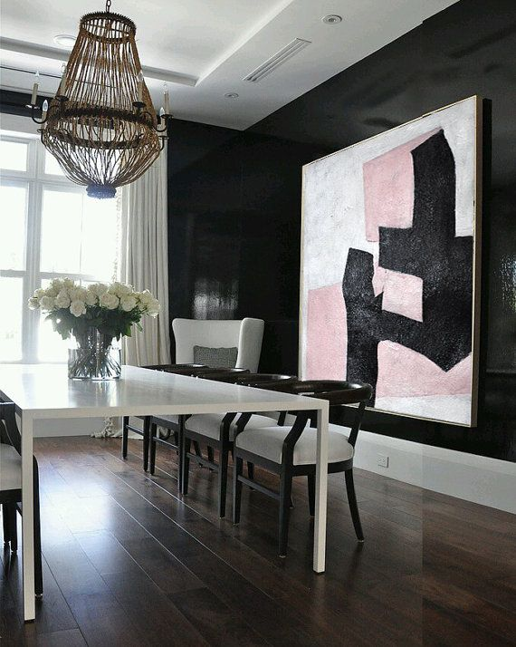 Black And Pink Oil Painting Minimalist Art, Large Canvas Art. Abstract Painting, Modern Art  Geometric Art. Hand Painted Acrylic Painting.