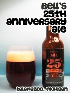 Bell's 25th Anniversary Ale. Nose: Apricot Jam, Hazelnut, Stewed Rhubarb, Redcurrant Jam. Taste: Plum, Blackberry, Rye, Caraway, Grape Nuts. #beer