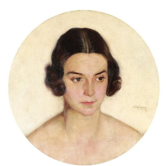 Nikolaos Lytras, Portrait of a lady, oil on canvas, 43 by 43cm