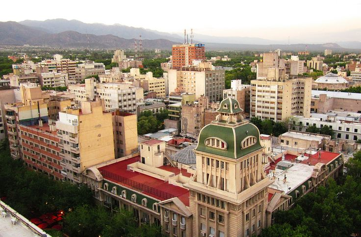 A beautiful landscape of a Mendoza City's part seen from the highest of Gómez building