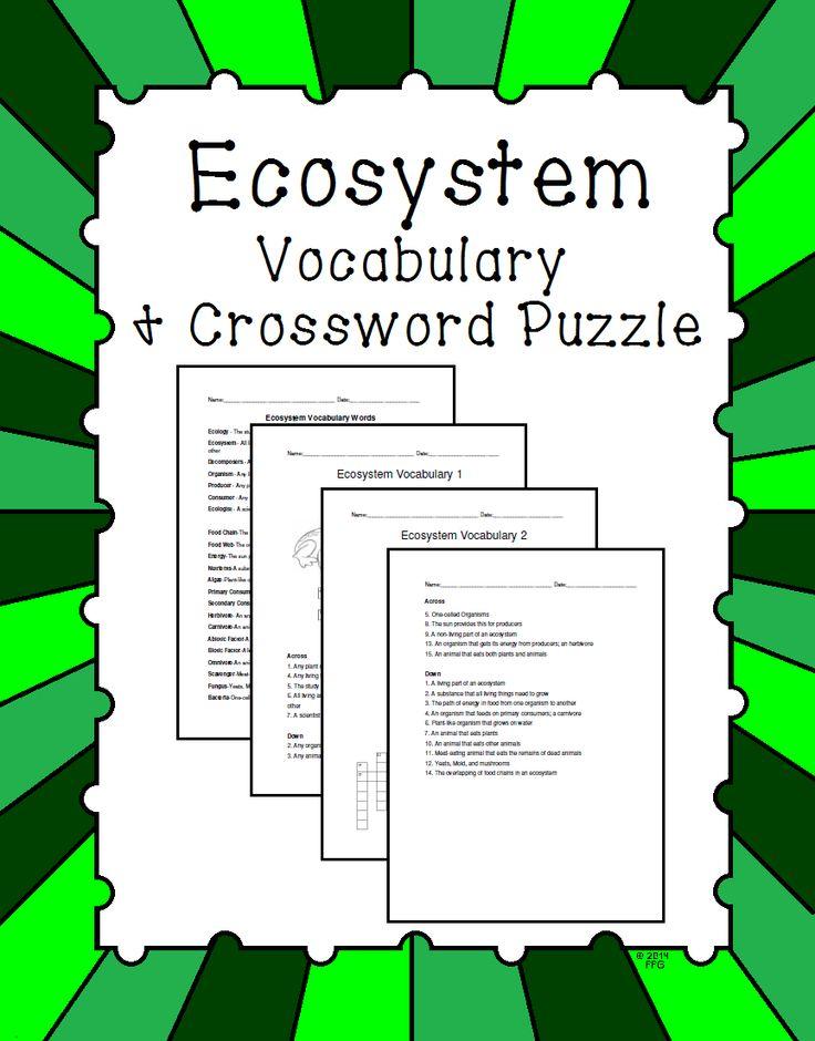 Ecosystem Vocabulary and Crossword Puzzle : Crossword, 5th ...