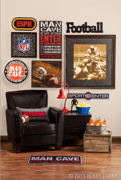 This room's perfect for the loud-cheering, face-paint-wearing, referee-instructing football fan! HOBBY LOBBY!!!!!!!!!!!!