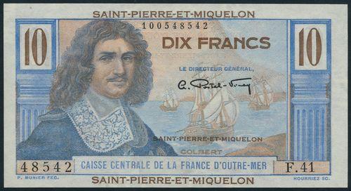 (x) Cassie Centrale De La France d'Outre-Mer, Saint Pierre et Miquelon, 10 francs, ND (1950), serial number F.41 48542, blue and multicolour, Colbert at left, ships at right