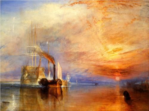 "The ""Fighting Temeraire"" Tugged to her Last Berth to be Broken up, William Turner- this piece of artwork has bright colors and a texture that makes it seem like it was a memory of a specific time or that it was a scene that was imagined. The piece is characteristic of the importance of imagination."