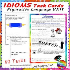 Grade / Year Level :: Primary Education :: Year 3 :: Literacy Activity Figurative Language IDIOMS Poster and Task Cards