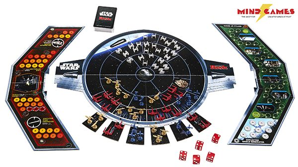 Risk Star Wars lets players recreate the dramatic final moments of Star Wars: Return of the Jedi. Across a TIE fighter-shaped gameboard, players can determine the fate of the Star Wars universe through 3 concurrent battles. Fight in the attack on the Death Star, the shield assault, and the battle between Luke Skywalker and Darth Vader!