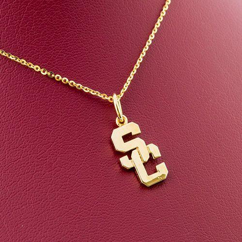 USC Trojans SC 14k Yellow gold over Bronz handmade Pendant
