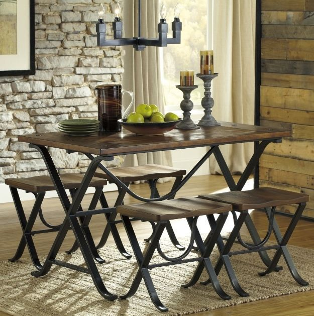 Ashley Furniture Industries Dining Set for 4 Industrial Rustic Table Backless