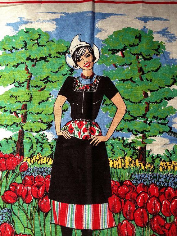 Vintage Souvenir Tea Towel  Holland by MelbaMoon on Etsy, $12.00