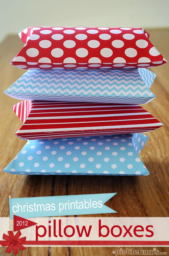 Print and Fold Pillow Boxes - part of the Christmas printables series for 2012 from picklebums.com
