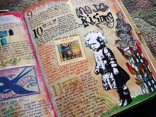 Still in love w/Judy Wise's journal pages.  How she can write so tiny and on perfect lines is beyond me.  And the way she does everything else....  : )