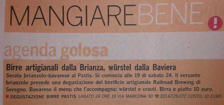Aperitivo Brewing Night da PASTIS su ViviMilano, l'allegato settimanale del Corriere della Sera.  #pastis #brewingnight #aperitivo #milano