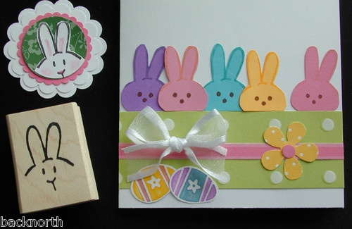 EASTER Peep BUNNY + stampin up stamp fits scallop circle punch peeking chocolate