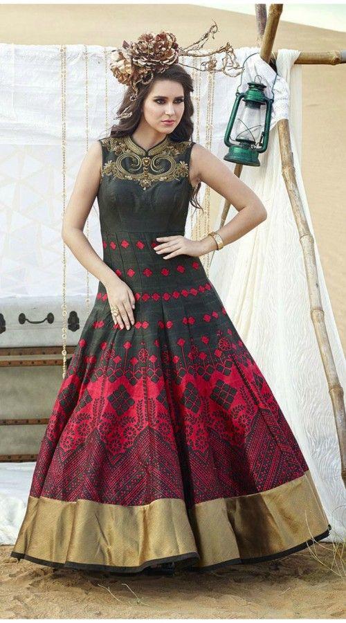 2c1f5eb431 Dazzling Digital Print Black Raw Silk Designer Gown With Golden Border  THS46206 Astonishing black raw silk designer indowestern g…