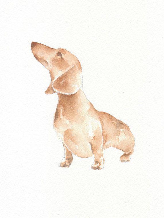 Dog, dog print, animal print, giclee, art, Watercolor, watercolor art print,  DACHSHUND DOG---Original watercolor giclee print 6x8