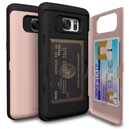 Amazon.com: Galaxy S7 Edge Case, TORU [CX PRO] - [CARD SLOT] [ID Holder] [KICKSTAND] Protective Hidden Wallet Case with Mirror for Samsung Galaxy S7 Edge -Rose Gold: Cell Phones & Accessories