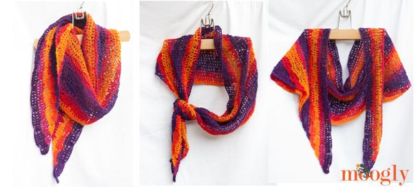 Sunset Shawlette - free crochet pattern made from 1 skein ...