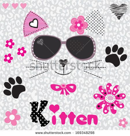 cat head vector illustration - stock vector