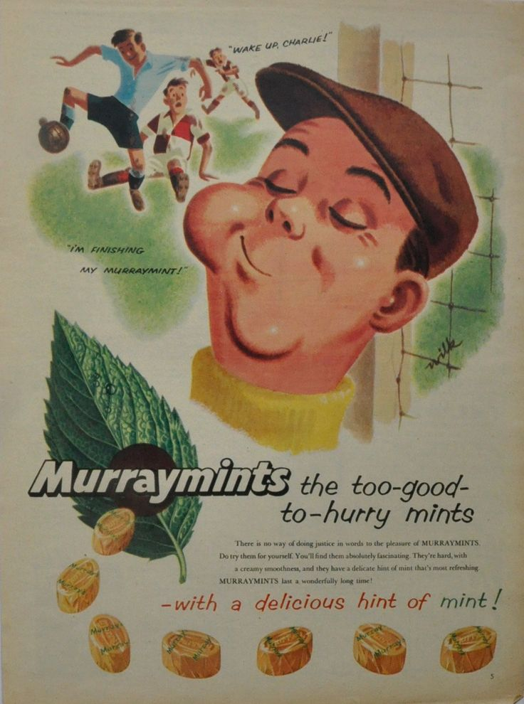 Murray Mints sweets with football goalkeeper. 1950's Original vintage magazine advert. Fathers day. Wake up Charlie. by GoodnessVintageMe on Etsy