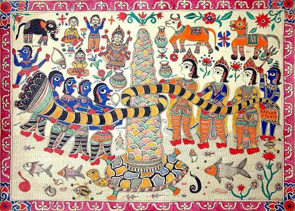 """Samudra-manthan,"" a modern Madhubani rendering by Dhirendra Jha"