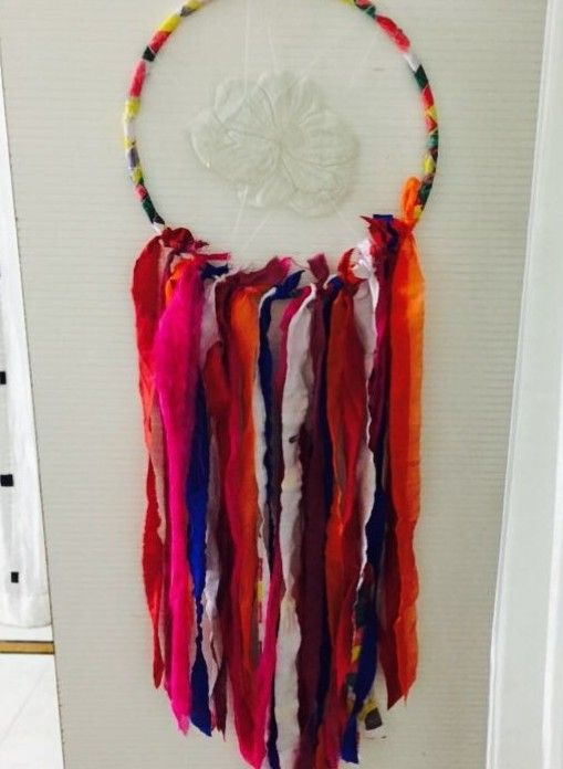 NOT a real dreamcatcher. All made of fabric scraps & laces.