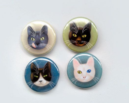 "fashion pinback buttons - 1 inch diameter - ""4 cats"". €4.50, via Etsy."