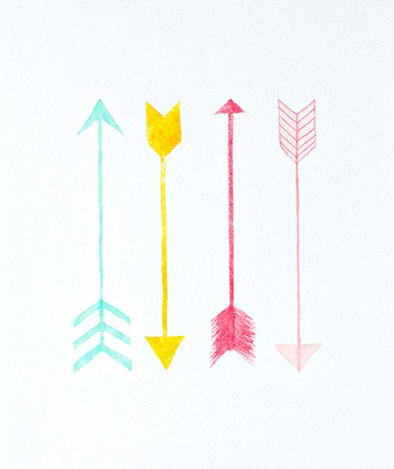 arrows watercolor PRINT  -  nursery artwork - turquoise, yellow, coral, pink