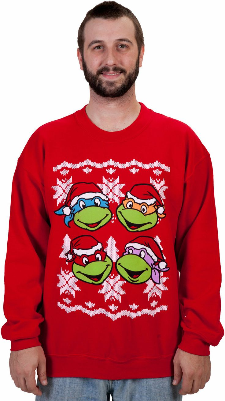 Faces Ninja Turtle Faux Christmas Sweater | Christmas | Pinterest ...