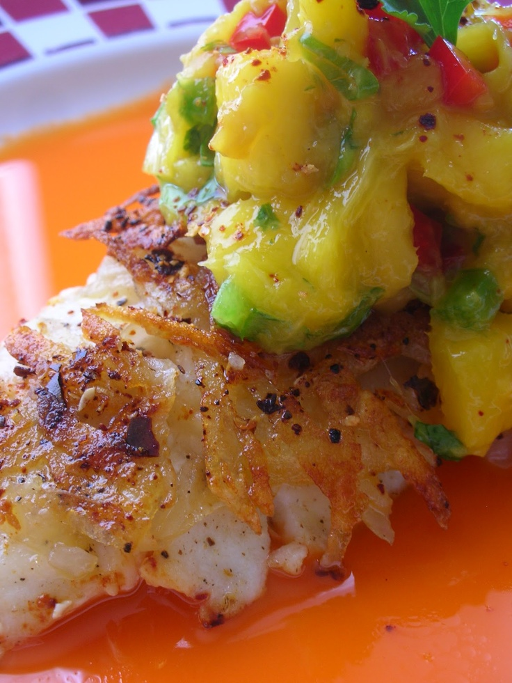 Potato and Cascabel-Crusted Halibut with Carrot-Mango Broth and Mango Salsa.: Seafood Recipes, Yummy Food, Potatoes Crusts, Food Yummy, Carrots Mango Broth, Mango Salsa, Mango Carrots Broth, Favorite Recipes, Cascabel Crusts Halibut