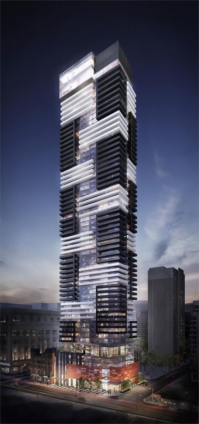 Full rendering of the boutique College Park YC Toronto Condo Tower residences.