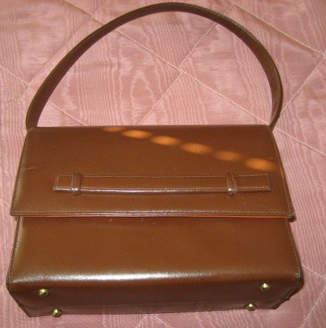 Vintage Koret Light Brown Calfskin Looping Strap Purse w/ Mirror Kelly Style