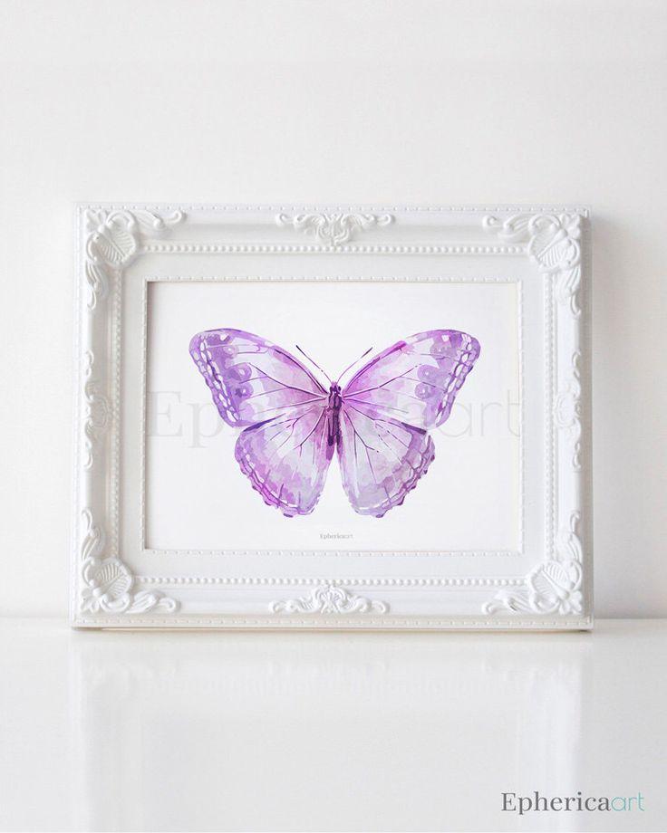 Lavender Purple Butterfly art print, Butterfly wall art, Baby purple decor, PRINTABLE wall art print, Butterfly decor, Purple home decor art by EphericaArt on Etsy https://www.etsy.com/listing/222555869/lavender-purple-butterfly-art-print