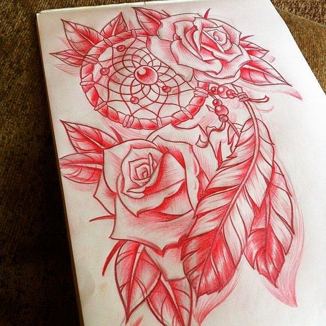 Red dream catcher and roses