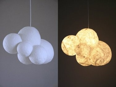Cloud Chandelier lamp made of balloons covered with papier-mache