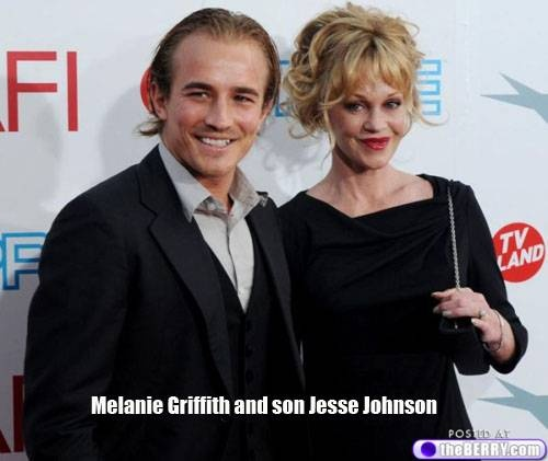 Melanie Griffith and son Jesse Johnson