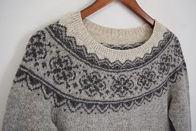 Seachange by Jennifer Steingass - This Norwegian inspired, circular-yoke sweater is worked seamlessly from the bottom up. The sleeves are worked first, for ease of checking gauge. Then the body is worked with some subtle waist shaping. Short row shaping is added for an optimal fit at the shoulders and neckline. Lastly, the stranded yoke is knit. There are no long strands, which makes for easy stranded knitting.