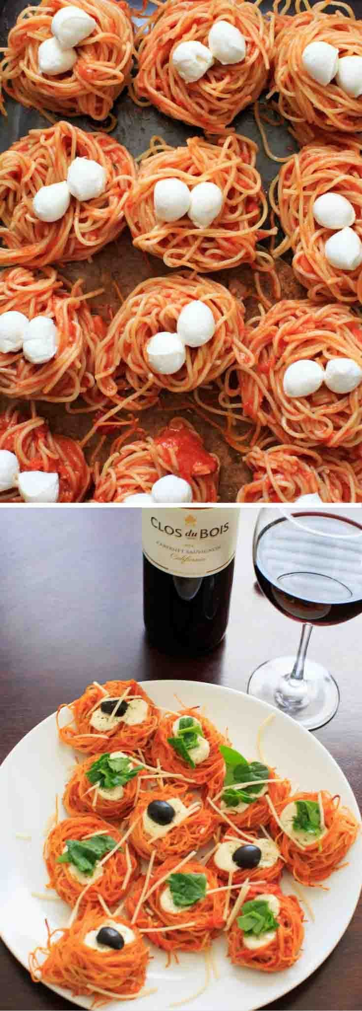 Msg 4 21+ [Ad] Simple Baked Spaghetti Nests - Barilla Angel Hair Pasta paired with Clos du Bois Cabernet Sauvignon red wine makes an easy and elegant dinner for entertaining. @barillaus @closdubois #thetalkofthetable