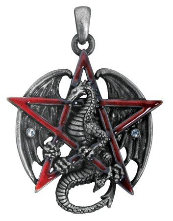 #Gothic Red Pentagram Star Dragon Pendant Necklace Jewelry Accessory