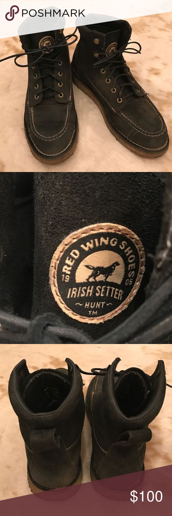 Red Wing Irish Setter Rare! Black suede Red Wing Irish Setter Hunt boots men's size 10 barely worn stock no. 3826 Red Wing Shoes Shoes Boots