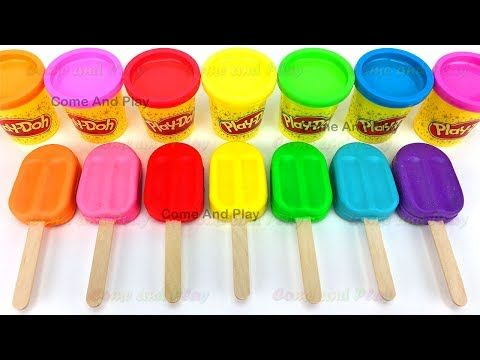 Learn Colors Play Doh Popsicle Ice Cream Peppa Pig Little Bus Dinosaur Fish Molds Surprise Toys Kids - YouTube