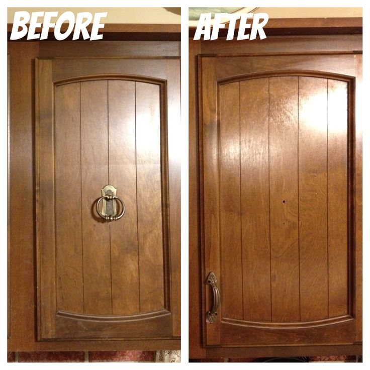 A simple hardware change transformed these cabinets for less than $2 each  (50% off - 17 Best Ideas About Cabinets For Less On Pinterest Under Kitchen