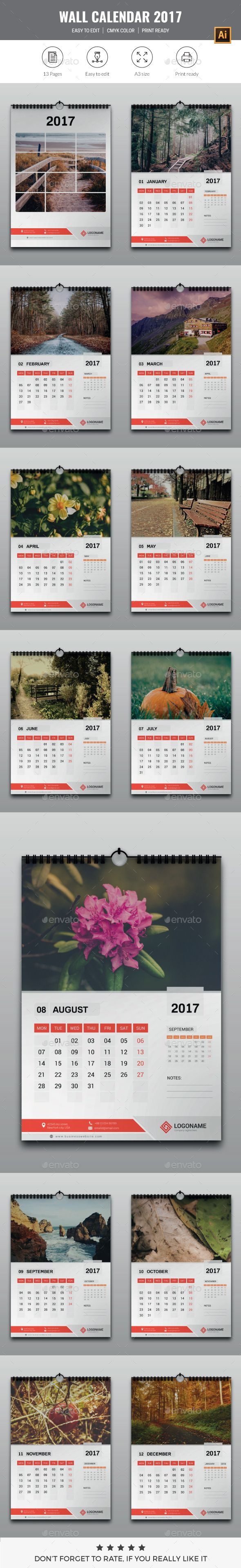 Wall Calendar 2017 Template Vector EPS, AI Illustrator                                                                                                                                                                                 More