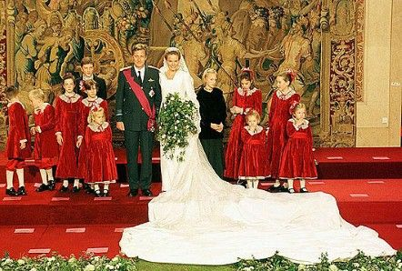 Princess Mathilde married Prince Philippe of Belgium in 1999, wearing a gown designed by Edouard Vermeulen for the House of Natan.