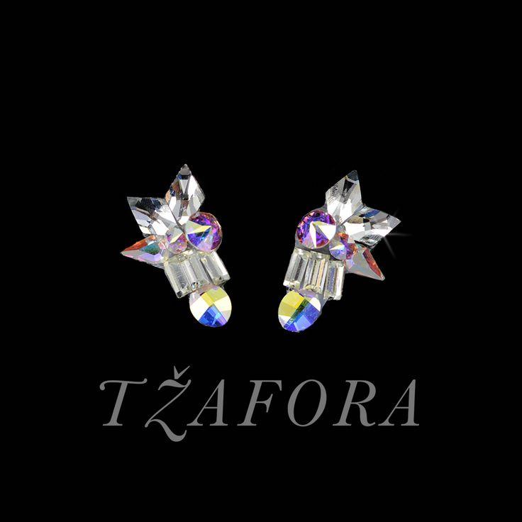 """Smooth Move"" - Swarovski ballroom earrings. Ballroom dance jewelry, ballroom dance dancesport accessories. www.tzafora.com Copyright ©️️️️️️️ 2017 Tzafora."