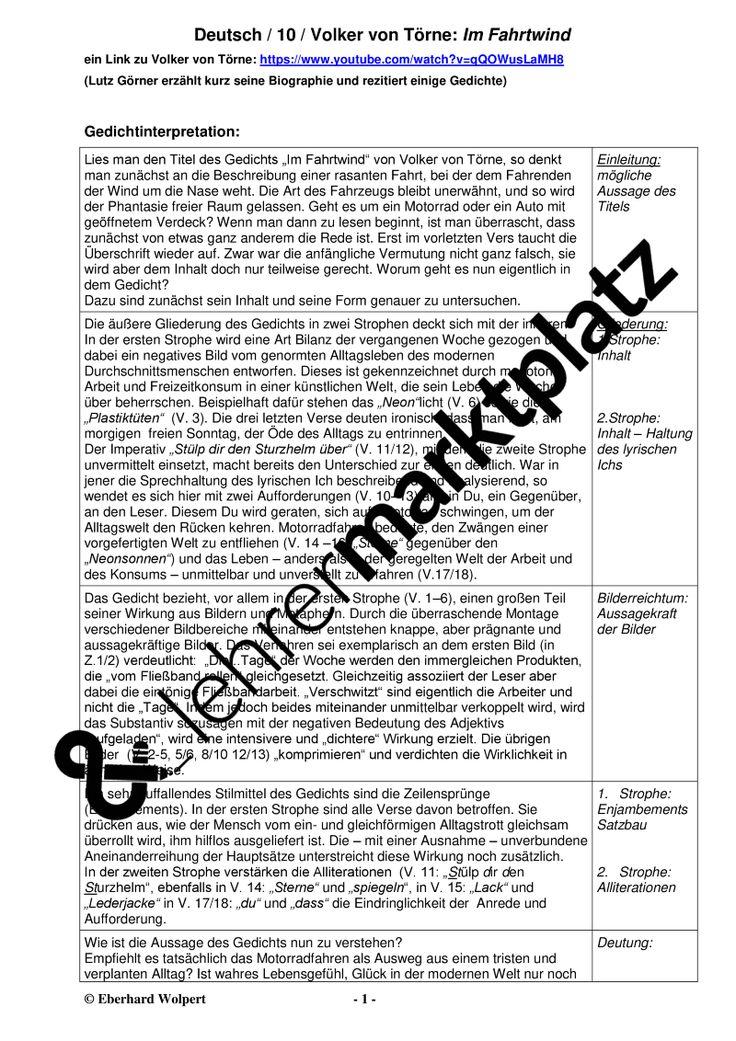 Volker Von Torne Im Fahrtwind Gedichtinterpretation Unterrichtsmaterial Im Fach Deutsch In 2020 Verben Im Prateritum Unterrichtsmaterial Daf